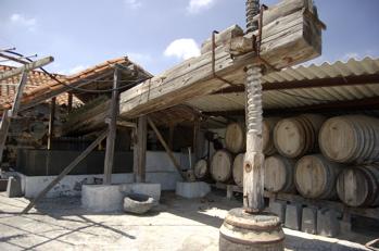 Alte Wein Presse aus Holz, Kanaren
