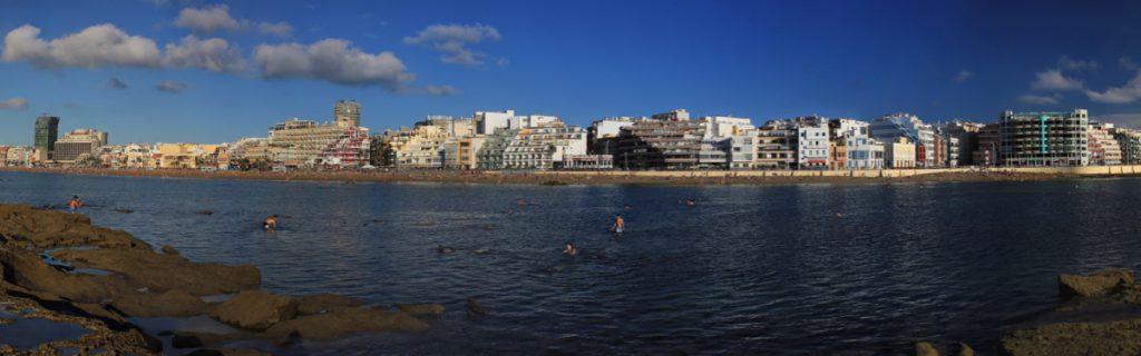 Las Canteras Strand, von La Barra aus gesehen, Las Palmas