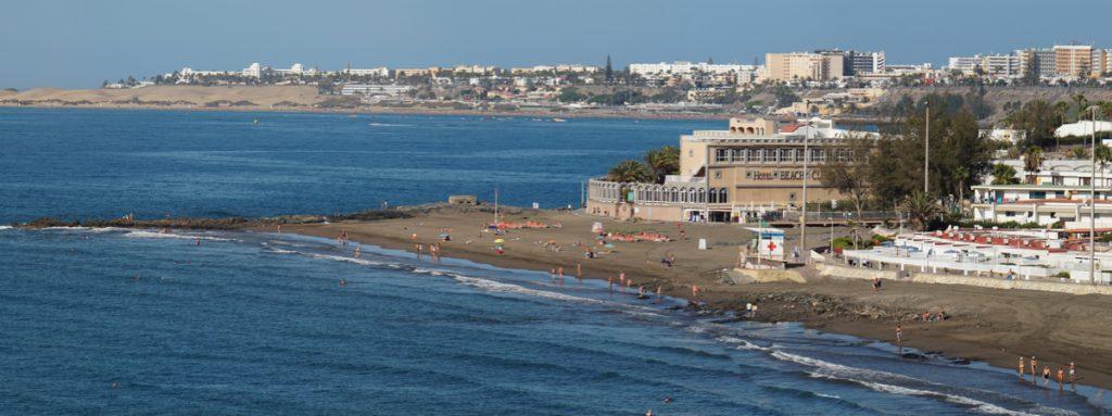 Strand von San Agustin, Westteil und im Hintergrund Playa del Ingles